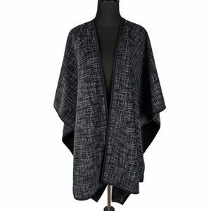 Reversible Fleece 3/4 Sleeve Wrap Poncho